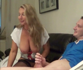 Milf girl good at handjob