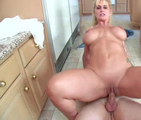 Stripper fucked in the kitchen