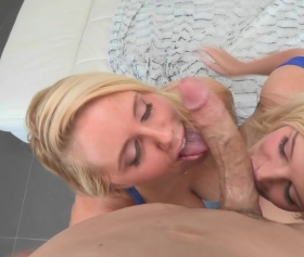 Two hot blondes licked the same cock
