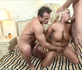 Blonde slut with double penetration