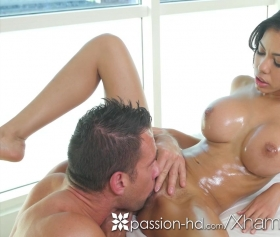Shay Evans gets fucked on the massage table